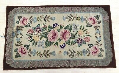 Antique Hooked Rug NH Primitive Signed! Keene NH Folk Art Sally Newhall Student