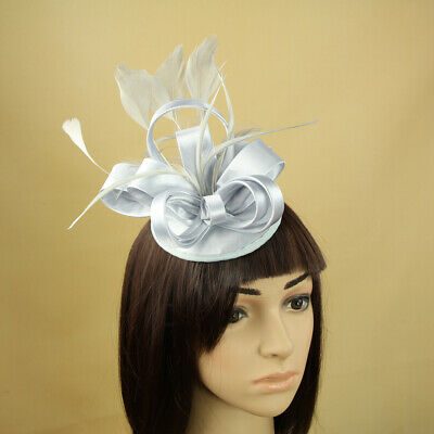 Womens Feather Satin Fascinator Hair Flower Cocktail Hat Church Wedding A386