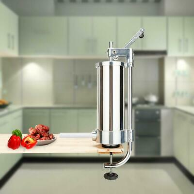 Stainless Steel Vertical Sausage Stuffer 3L 7LBS Maker Meat Filler Commercial