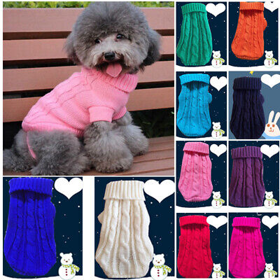 Pet Dog Cat Knitted Jumper Winter Warm Sweater Puppy Coat Jacket Clothes Apparel