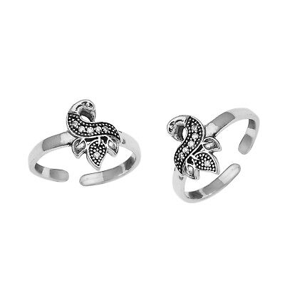 Adjustable Sterling Silver CZ Peacock Toe Ring Lady Foot Beach Celebrity Jewelry
