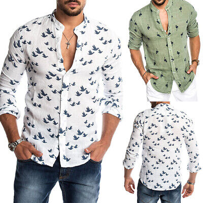 Mens Casual Cotton Linen Loose T Shirts Summer Holiday Button Short Sleeve Tops