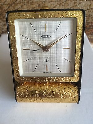 Great Looking Jaeger Travel Clock 2 Days 1950s With Lovely Dial Swiss Made