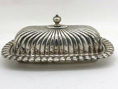 English Silver Mfg. Silverplate Ribbed Butter Dish With Glass Insert