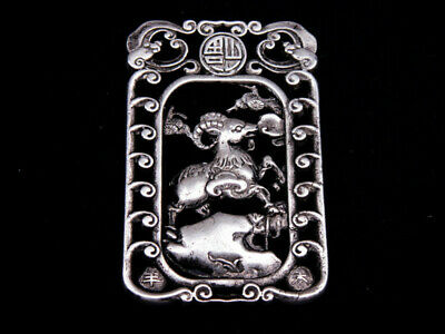 Tibetan Silver Highly Detail Crafted Pendant Zodiac Goat w/ Bats Blessing FU