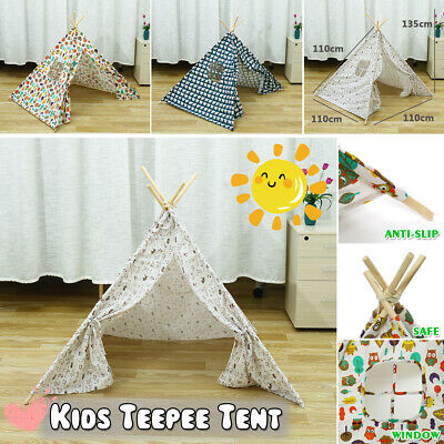 Children Kids Indian Teepee Tent  Home Canvas Pretend Play Playhouse Indoor