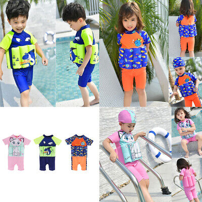 Kids Girls Boys Removable Float Swimwear Swimsuit Swimming Learning Clothes