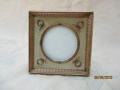 ANTIQUE FRENCH BRONZE & SILK PHOTO PICTURE FRAME EMPIRE STYLE RIBBONS XIXth C