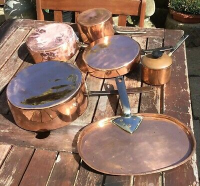 Job Lot 6 Antique Some Victorian Copper Saucepans Pans Lid Heavy 6.3Kg