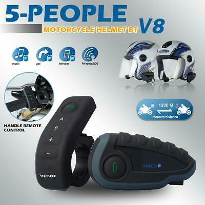 V8 Motorcycle Helmet Bluetooth Headset 5 Riders BT Intercom FM Radio NFC