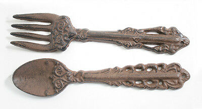 Rustic Vintage Style Cast Iron Fork & Spoon Set Indoor Decor