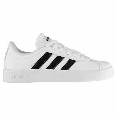 adidas Kids Boys VL Court Lthr Childs Low Top Trainers Sports Shoes Lace Up