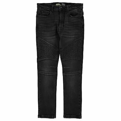 No Fear Kids Boys Black Wash Biker Jeans Junior Straight Pants Trousers Bottoms
