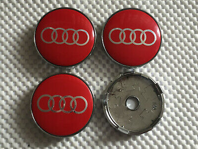 4x Audi 60mm Wheel Centre Cap Hub Set of 4 Caps Logo Top Quality, Red Slver