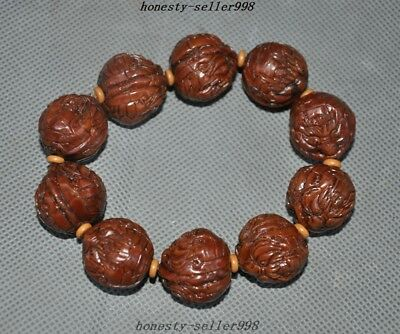 Collect Rare Old Walnut nuclear Carved Beast Head Health Care Bracelets Antique