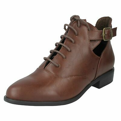 Ladies Brown Lace-Up Buckle Ankle Boots Low-Heel Smart Casual Shoes Sizes 3-8