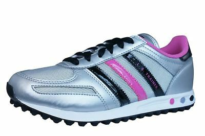 Adidas Kids LA Trainer Girls Trainers Sports Sneakers Silver Grey