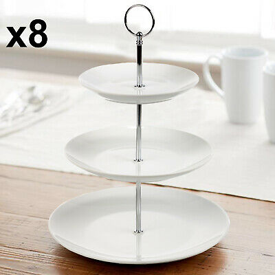 8X 3 TIER Glass Ceramic Cake Stand Afternoon Tea Wedding Plates Party Tableware