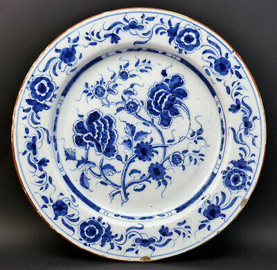 c1750, ANTIQUE 18thC ENGLISH LONDON BLUE & WHITE HAND PAINTED DELFT FLORAL PLATE