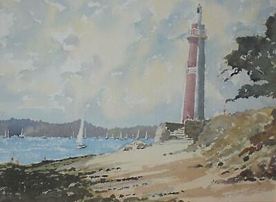 Marine Lndscp Ascribed Benodet Beach Brittany Watercolour Appears Unsigned c2000