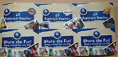 3 X Alton towers Fast Track & 3 X £15 Share The Fun Vouchers Merlin Annual Pass