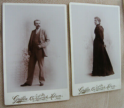 2 Cabinet Photos Portraits Of A Lovely Well Dressed Young Couple Hebron Nebraska