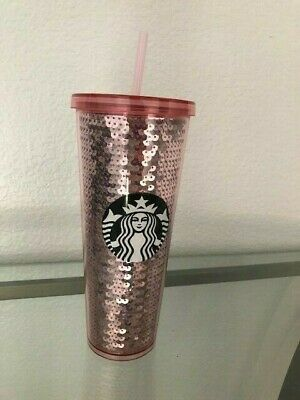 New Starbucks 2017 Pink Sequins 24 oz Venti Cold Tumbler Cup