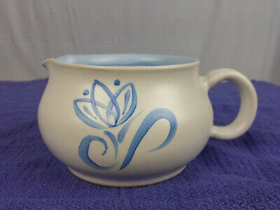 Denby England Stoneware Pride Blue Tulip Creamer Replacement Ivory Blue Vtg 8 oz