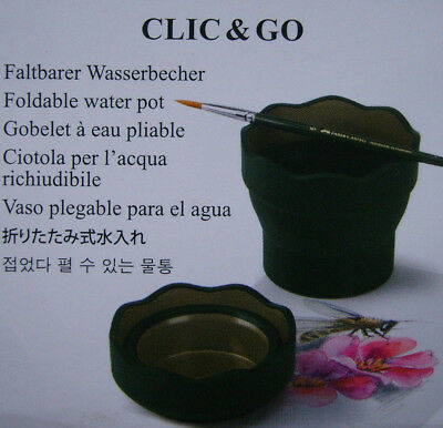 FABER CASTELL  CLIC & GO FOLDABLE WATER POTS x 8 - GREEN - FREEPOST