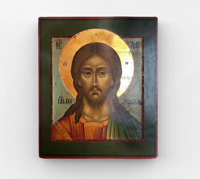 Stylized Antiques Orthodox Icon. Wood Wall Art Vintage Decor.Christ Pantocrator