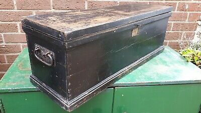 Old antique  Tool Chest with working lock and key 81cm x 26cm x 30cm