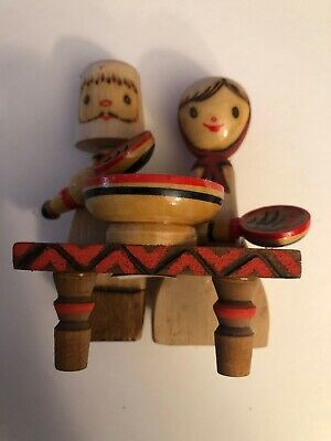 Vintage Mockba Russian Colorful Wooden Carved Doll Figurine Man And Lady Eating
