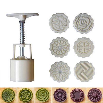 6 Rose Flower Stamps Moon Cake Decor Mould Round Mooncake Mold DIY Tool 50g New