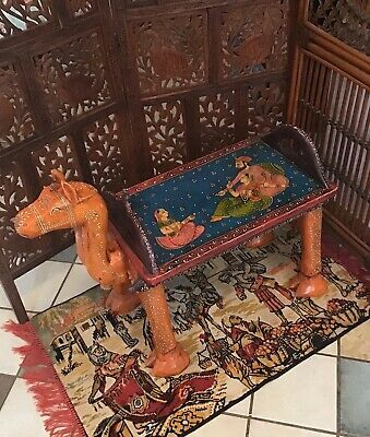 Exotic Vintage Hand Carved Hand Painted Mango Wood Camel Table Made in India