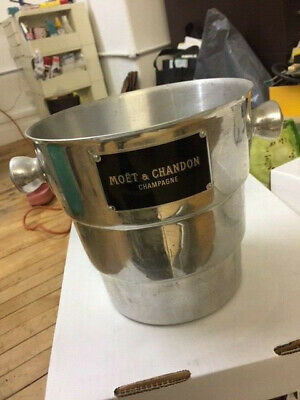 RARE Vintage Moet & Chandon Champagne Ice Bucket Cooler Art Deco Black and chrom