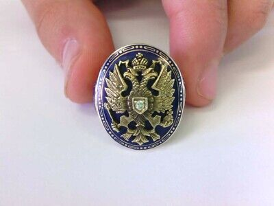 VERY RARE Antique 14K Russian Double Eagle Crest of Arms Blue Enameled Dia Ring