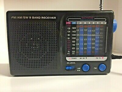 Vintage 9 Band Fm/Am/Sw World Receiver Radio Tested Working Batteries Included