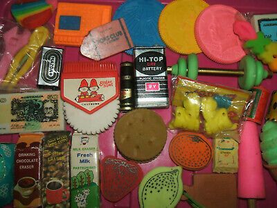RARE VINTAGE 1980s COLLECTION OF ERASERS RUBBERS - LOT 1V