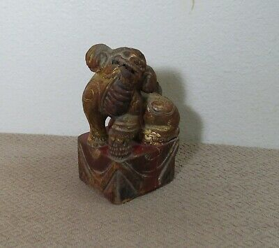 19th Century Hand Carved Chinese Wood Foo Dog Red/Gold - Good Luck Foo Dog
