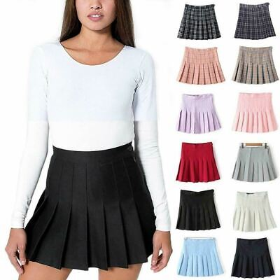 Women High-waist Pleated Zip Tennis Skirts Skater Casual Mini Skirt Shorts JS020