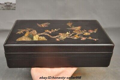 "10""Old Chinese Ancient Rosewood wood inlay Shell flower bird Jewelry storage Box"