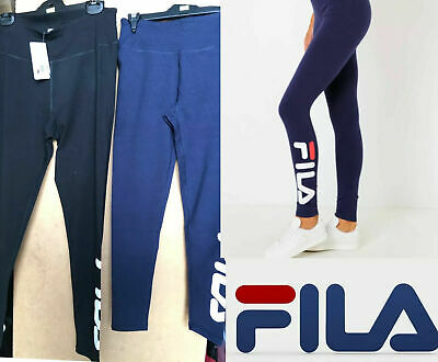 Ladies Logo Black, Grey & Navy FILA Tights For Exercise Fitness Gym, Full length