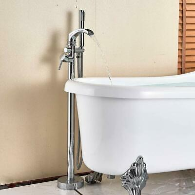 Artiqua Freestanding Bathtub Tub Filler Faucet Chrome Brass Tap With Hand Shower