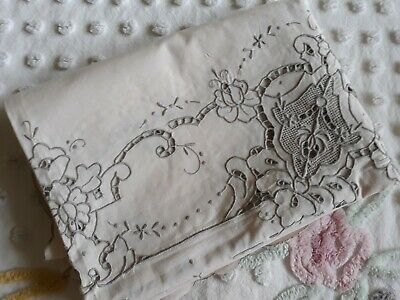 Lovely Ivory With Lt Gray Floral Embroidery & Cutwork Cotton Tablecloth 46x65