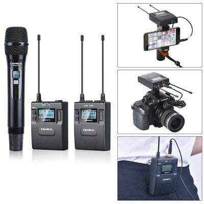 COMICA UHF 96-Channel Handheld Lavalier Camera Microphone Transmitter Receiver