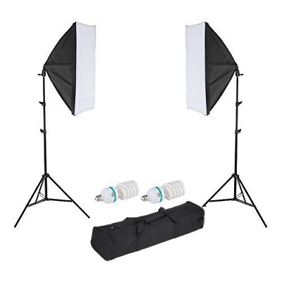 2x 150W Photography Studio Softbox Light Stand Continuous Lighting & Bulbs Kit