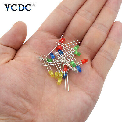 100Pcs//lot 3mm LED Light Round Top 5 Colors Diffused Emitting Diode Lamps C7EF