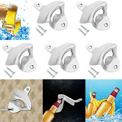 5Pcs  Stainless Steel Silver Wall Mount Beer Soda Bottle Opener with Screws  USA