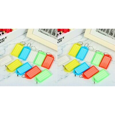 10-PACK Plastic Key Tags Metal Ring Luggage Card Name Label Keychain Split Ring