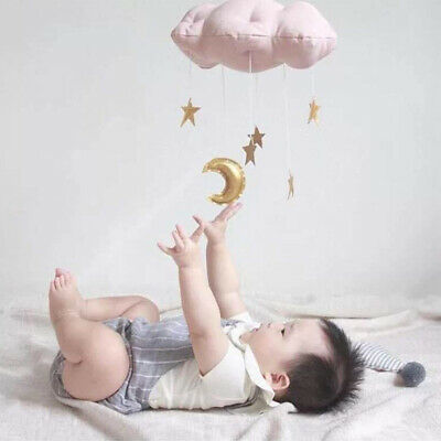 AU Nursery Style Moon Cloud  Star Baby Bed Mobile Hanging Room Decor Accessory